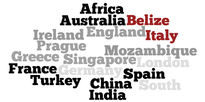 country names word cloud